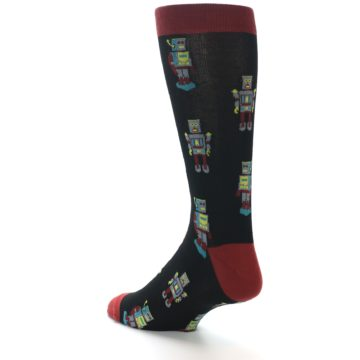 Image of Black Grey Red Robot Men's Dress Socks (side-2-back-15)