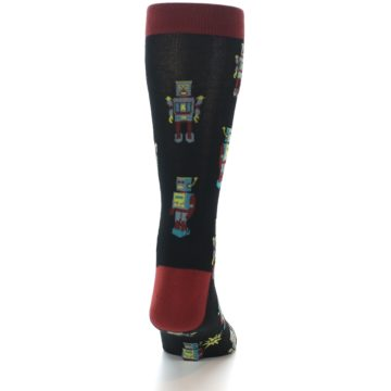 Image of Black Grey Red Robot Men's Dress Socks (back-19)
