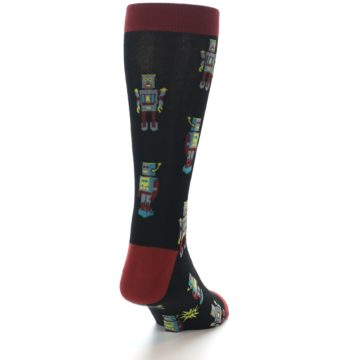 Image of Black Grey Red Robot Men's Dress Socks (side-1-back-20)