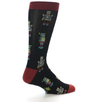Image of Black Grey Red Robot Men's Dress Socks (side-1-23)
