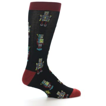 Image of Black Grey Red Robot Men's Dress Socks (side-1-24)