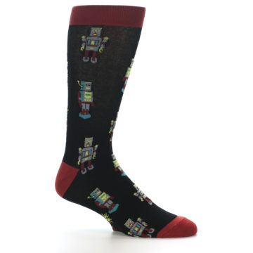 Image of Black Grey Red Robot Men's Dress Socks (side-1-25)