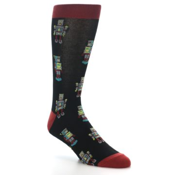 Image of Black Grey Red Robot Men's Dress Socks (side-1-27)