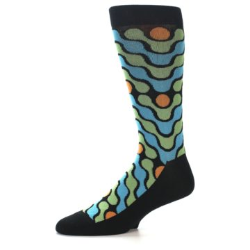 Image of Black Green Blue Stripes Men's Dress Socks (side-2-10)