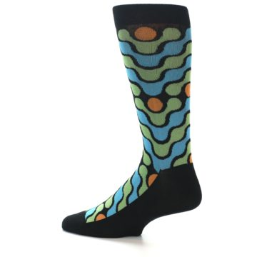 Image of Black Green Blue Stripes Men's Dress Socks (side-2-13)