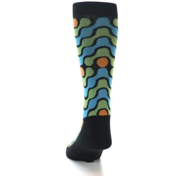 Image of Black Green Blue Stripes Men's Dress Socks (back-17)