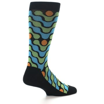 Image of Black Green Blue Stripes Men's Dress Socks (side-1-23)