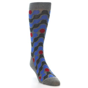 Image of Grey Blue Red Stripes Men's Dress Socks (side-1-front-02)