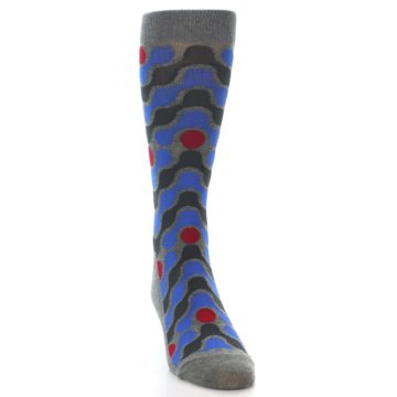 Image of Grey Blue Red Stripes Men's Dress Socks (side-1-front-03)