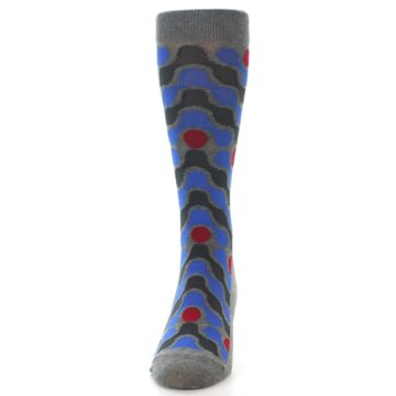 Image of Grey Blue Red Stripes Men's Dress Socks (front-05)