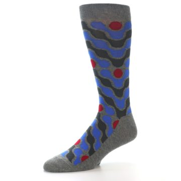 Image of Grey Blue Red Stripes Men's Dress Socks (side-2-09)
