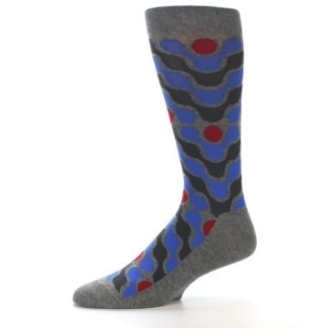 Image of Grey Blue Red Stripes Men's Dress Socks (side-2-10)
