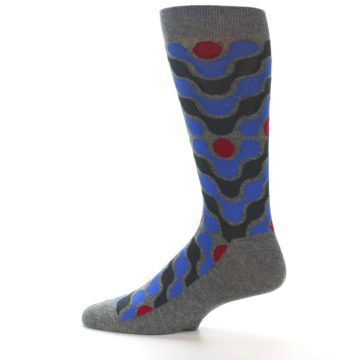 Image of Grey Blue Red Stripes Men's Dress Socks (side-2-12)