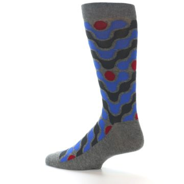 Image of Grey Blue Red Stripes Men's Dress Socks (side-2-13)