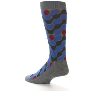 Image of Grey Blue Red Stripes Men's Dress Socks (side-2-back-14)