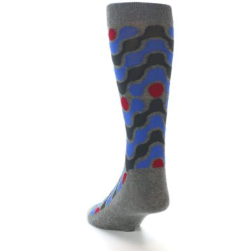 Image of Grey Blue Red Stripes Men's Dress Socks (side-2-back-16)