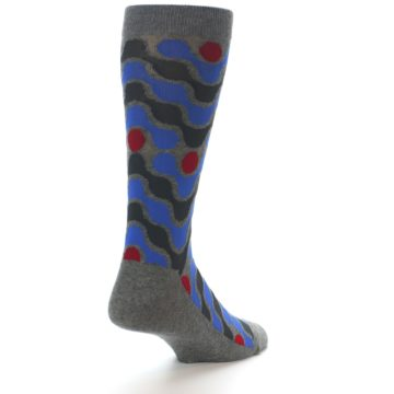 Image of Grey Blue Red Stripes Men's Dress Socks (side-1-back-21)