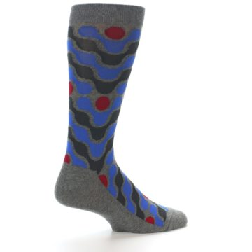 Image of Grey Blue Red Stripes Men's Dress Socks (side-1-23)