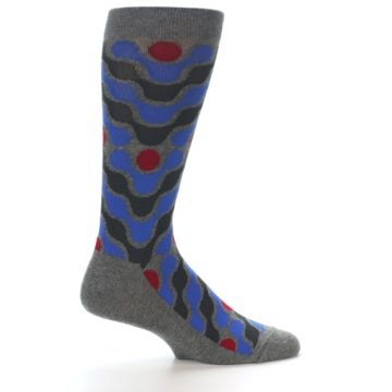 Image of Grey Blue Red Stripes Men's Dress Socks (side-1-24)