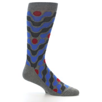 Image of Grey Blue Red Stripes Men's Dress Socks (side-1-25)