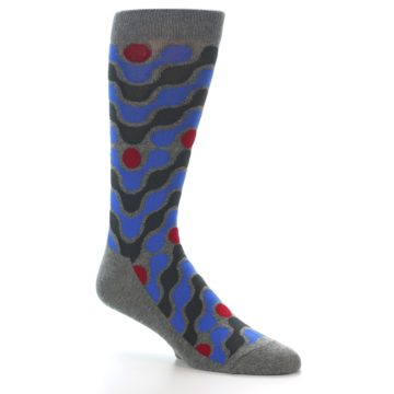 Image of Grey Blue Red Stripes Men's Dress Socks (side-1-26)
