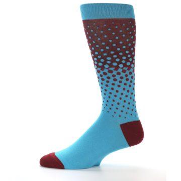 Image of Red Blue Dots Men's Dress Sock (side-2-11)