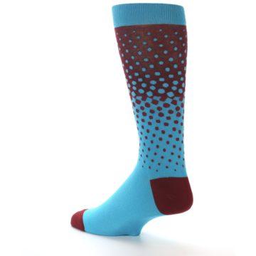 Image of Red Blue Dots Men's Dress Sock (side-2-back-14)