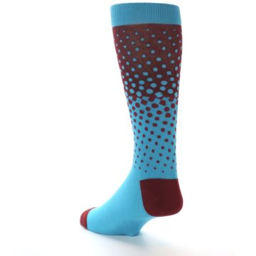 Image of Red Blue Dots Men's Dress Sock (side-2-back-15)
