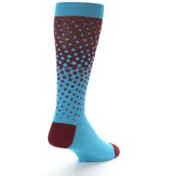 Image of Red Blue Dots Men's Dress Sock (side-1-back-21)