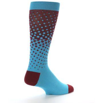 Image of Red Blue Dots Men's Dress Sock (side-1-back-22)