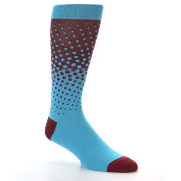 Image of Red Blue Dots Men's Dress Sock (side-1-26)