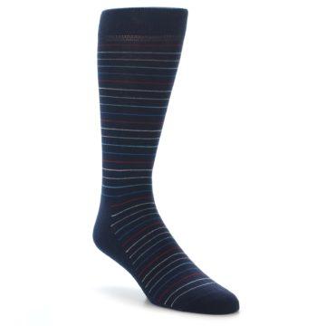 Image of Navy Blue Red Thin Stripe Men's Dress Socks (side-1-front-01)