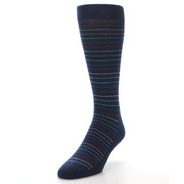 Image of Navy Blue Red Thin Stripe Men's Dress Socks (side-2-front-07)