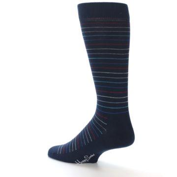 Image of Navy Blue Red Thin Stripe Men's Dress Socks (side-2-back-14)