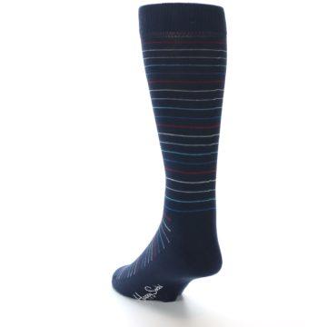 Image of Navy Blue Red Thin Stripe Men's Dress Socks (side-2-back-16)