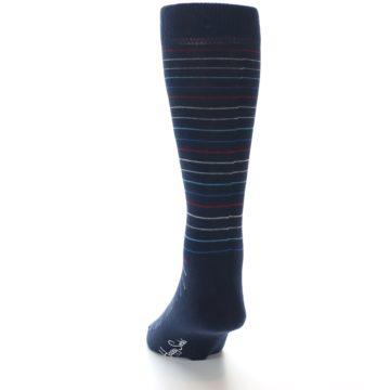 Image of Navy Blue Red Thin Stripe Men's Dress Socks (back-17)