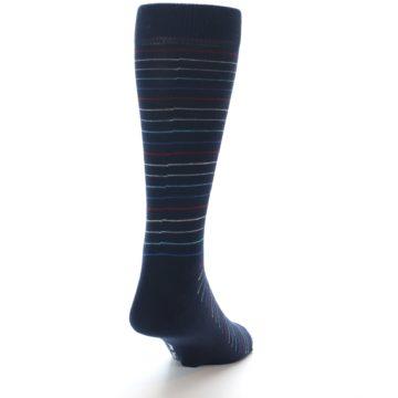Image of Navy Blue Red Thin Stripe Men's Dress Socks (side-1-back-20)