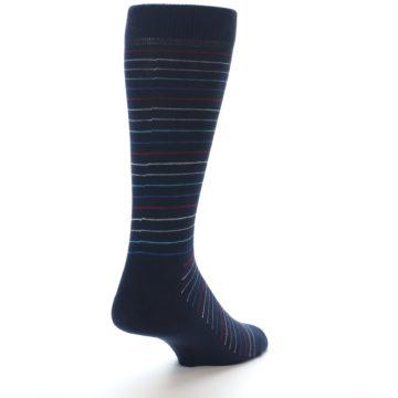 Image of Navy Blue Red Thin Stripe Men's Dress Socks (side-1-back-21)