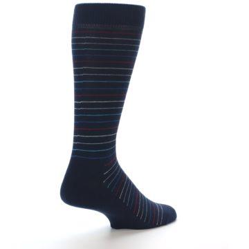Image of Navy Blue Red Thin Stripe Men's Dress Socks (side-1-back-22)