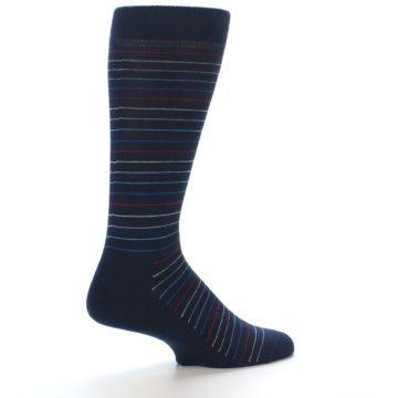 Image of Navy Blue Red Thin Stripe Men's Dress Socks (side-1-23)