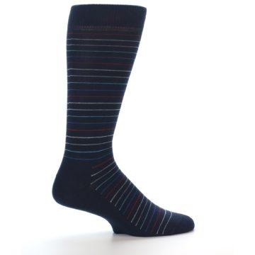 Image of Navy Blue Red Thin Stripe Men's Dress Socks (side-1-24)