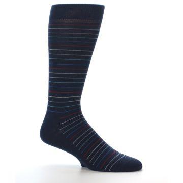 Image of Navy Blue Red Thin Stripe Men's Dress Socks (side-1-25)