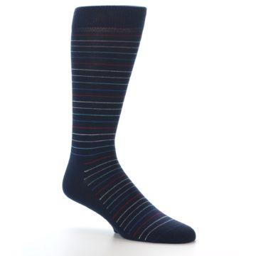 Image of Navy Blue Red Thin Stripe Men's Dress Socks (side-1-26)
