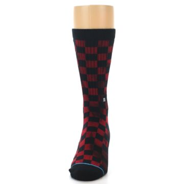 Image of Black Red Checkered Men's Athletic Crew Socks (front-05)