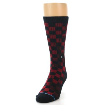 Image of Black Red Checkered Men's Athletic Crew Socks (side-2-front-06)