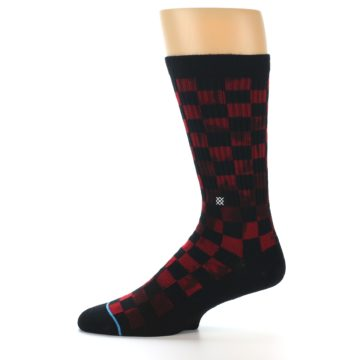 Image of Black Red Checkered Men's Athletic Crew Socks (side-2-11)