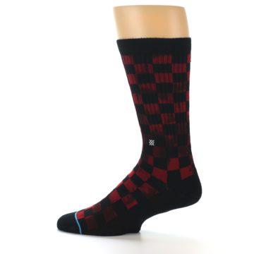 Image of Black Red Checkered Men's Athletic Crew Socks (side-2-12)