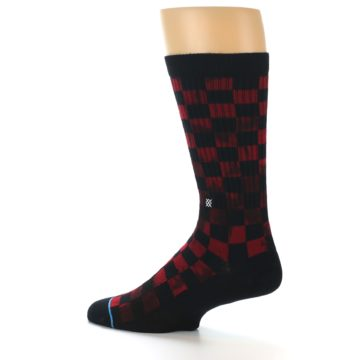 Image of Black Red Checkered Men's Athletic Crew Socks (side-2-13)