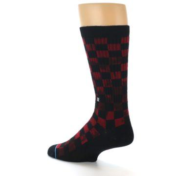 Image of Black Red Checkered Men's Athletic Crew Socks (side-2-back-14)