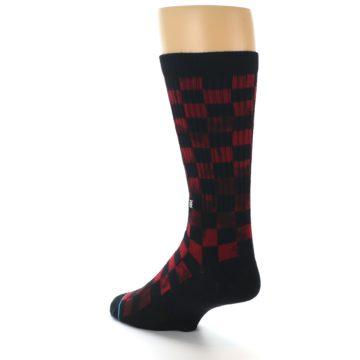 Image of Black Red Checkered Men's Athletic Crew Socks (side-2-back-15)
